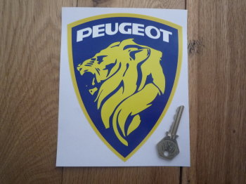 "Peugeot Lions Head & White Text in Shield Sticker. 6.5""."