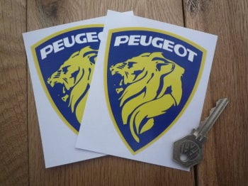 "Peugeot Lions Head & White Text in Shield Stickers. 4"" Pair."