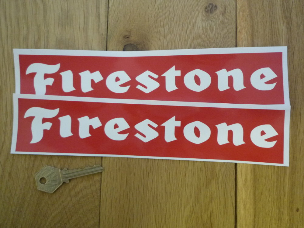"""Firestone Oblong White on Red Stickers. 10"""" Pair."""