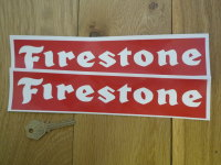 Firestone Oblong White on Red Stickers. 10