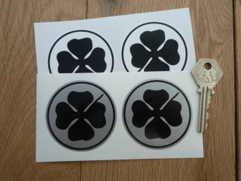 Alfa Romeo Circular Black Cloverleaf Stickers. 60mm Pair.