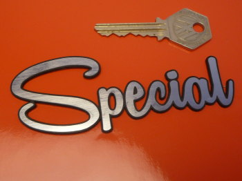 "Special Rounded Script Style Laser Cut Self Adhesive Car Badge. 4.25""."