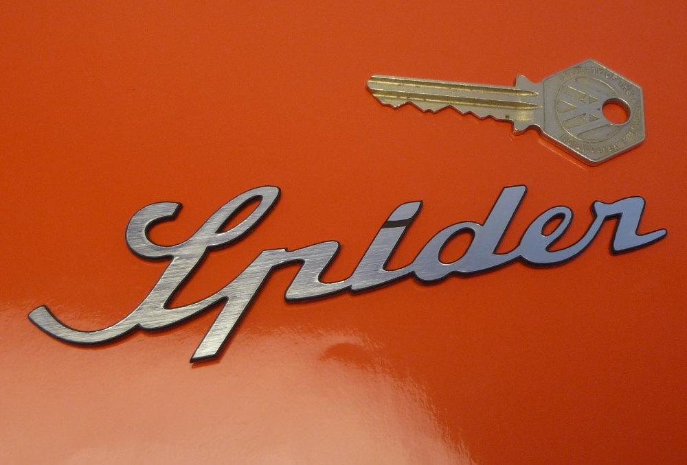 Spider Script Style Laser Cut Self Adhesive Car Badge. 5.25