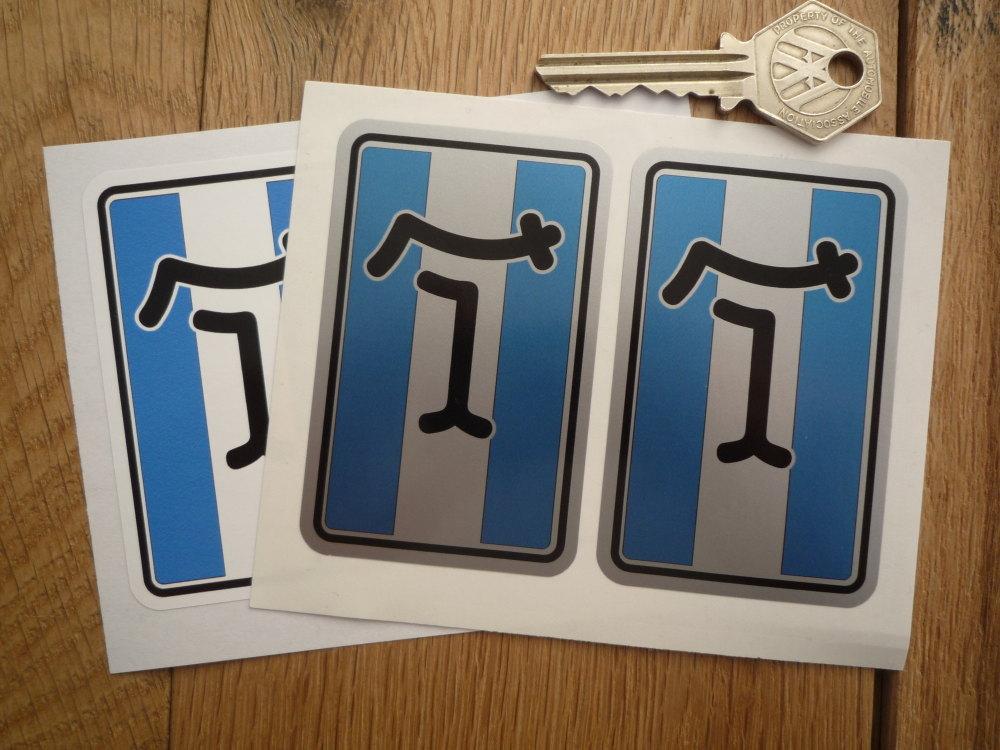 "De Tomaso 'T' Stickers. 2"" Pair."
