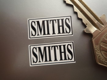 "Smiths Heater Labels Black & White Stickers. 1"" Pair."