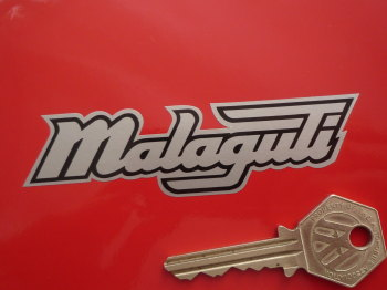 "Malaguti Shaped Printed Text Stickers. 4"" or 6"" Pair."