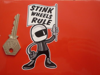 "Stink Wheels Rule Flag Waving 2 Stroke Rider Sticker. 4""."