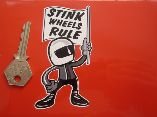 Stink wheels rule flag waving 2 stroke rider sticker 4