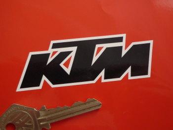 "KTM Black & White Text Stickers. 3.5"" Pair."