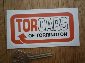 "Torcars of Torrington Orange Style Sticker. 4""."