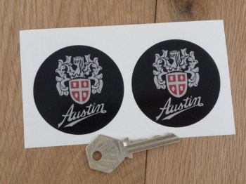 Austin Crest Black Background Circular Silver Stickers. 50mm or 61mm Pair.