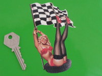 "Pin-Up Girl in Tyre with Chequered Flag Sticker. 5"" or 7""."