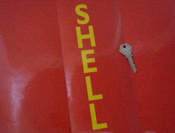 "Shell Vertical Cut Text Stickers. 10"" Pair."