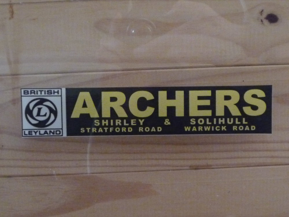 "British Leyland Archers Shirley & Solihull Dealers Window Sticker. 7.5""."