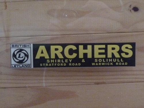 British Leyland Archers Shirley & Solihull Dealers Window Sticker. 7.5