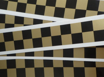 "Chequered Tape Checkered Check Black & Gold Decal. 46"" x 1""."