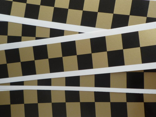 Chequered Tape Checkered Check Black & Gold Decal. 46