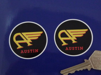 Austin Winged A Circular Stickers. 50mm Pair.