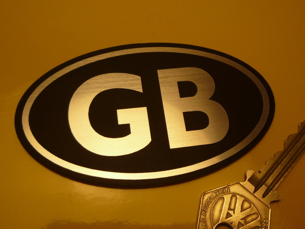 "GB Black & Silver ID Plate Laser Cut Self Adhesive Bike or Car Badge. 3.75""."