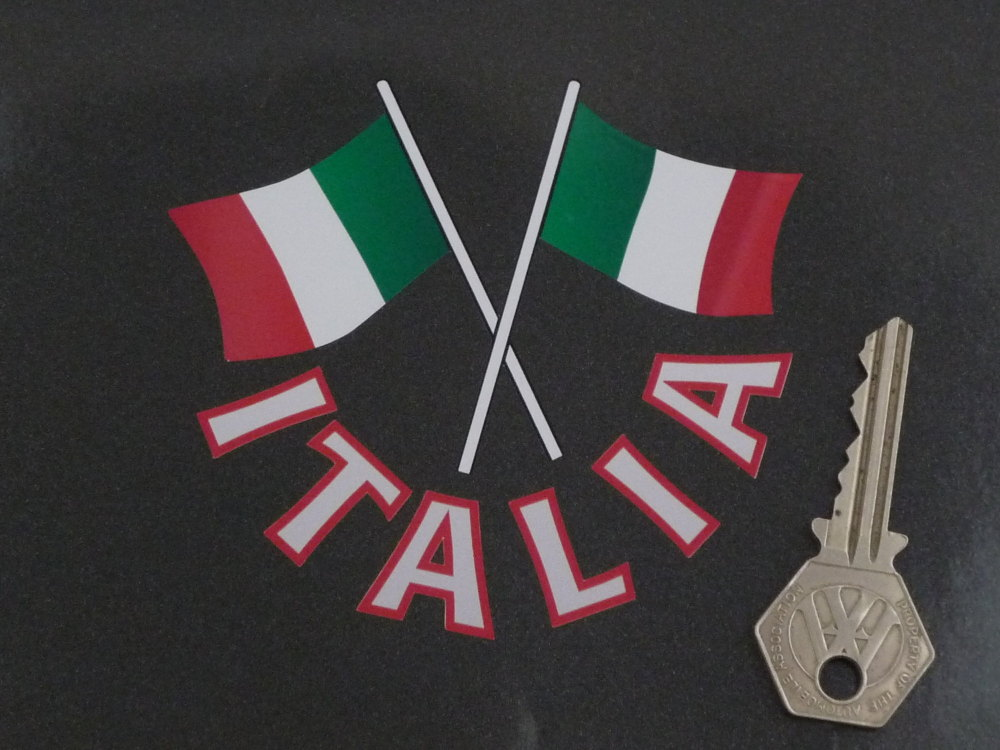 """Italia Text & Crossed Italian Flags Cut Out Italy Sticker. 4""""."""