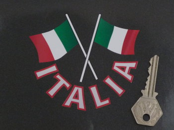 "Italia Text & Crossed Italian Flags Cut Out Italy Sticker. 4""."