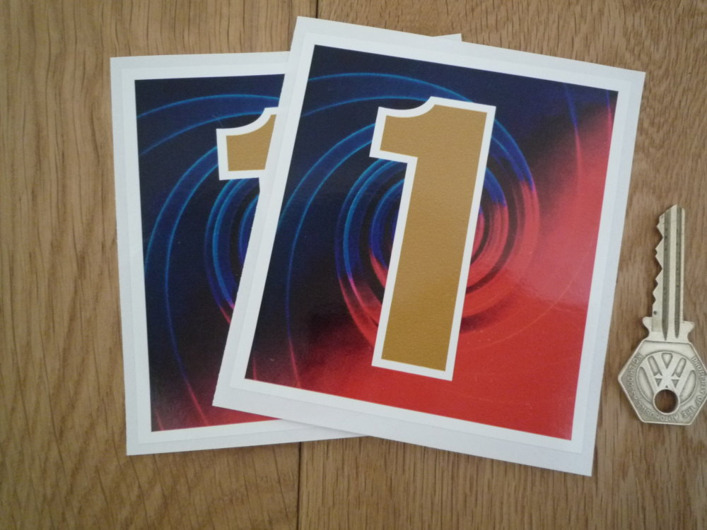 """Mobil 1 Later Square Style Stickers. 2.25"""", 4"""", 5"""", or 6.5"""" Pair."""