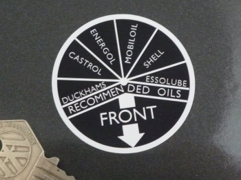 "Oil Filler Cap Recommended Oils Black & White Circular Sticker. 2""."