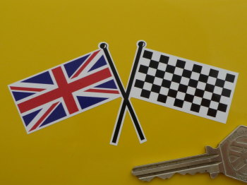 "Union Jack & Chequered Crossed Straight Flags Coloured Sticker. 4""."
