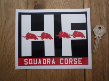 "Lancia HF Squadra Corse Oblong Red, White, & Black Sticker. 6.25""."