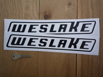 "Weslake Black & White Slanted Oblong Stickers. 12"" Pair."