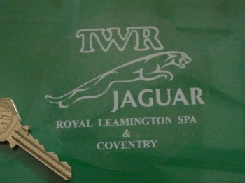 "TWR Jaguar Royal Leamington Spa & Coventry Circular Window Sticker. 3.5"" or 5""."