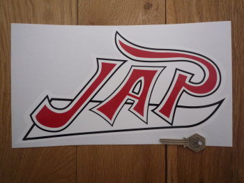 "JAP Red, Black, & White Shaped Sticker. 12""."