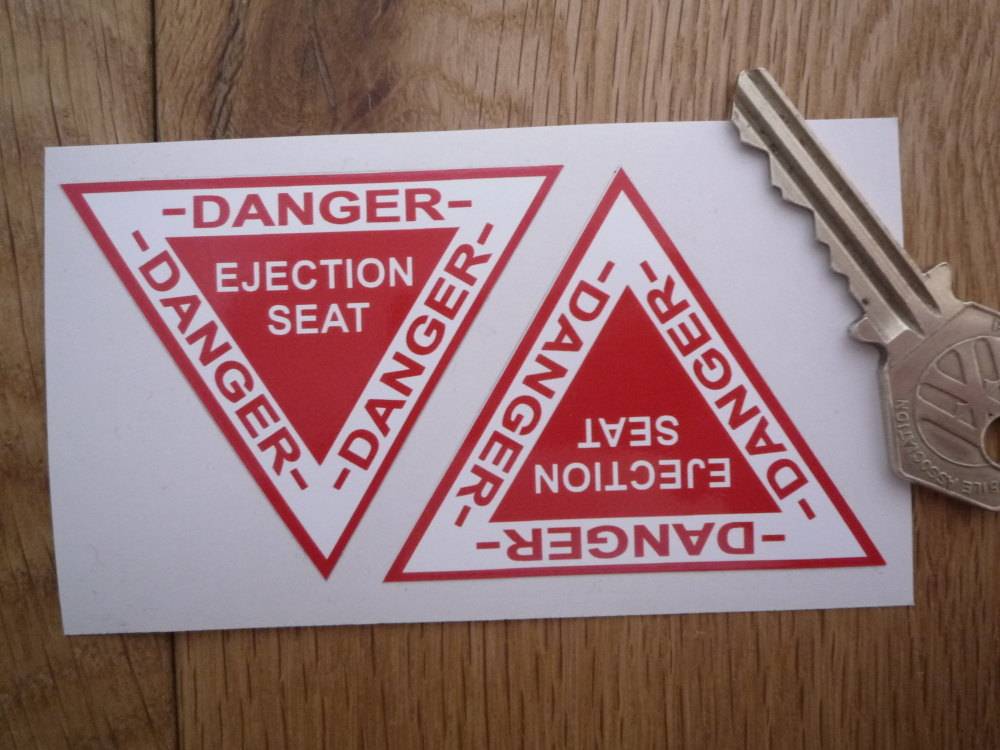 """Danger Ejector Ejection Seat Stickers. 2.5"""" Pair."""