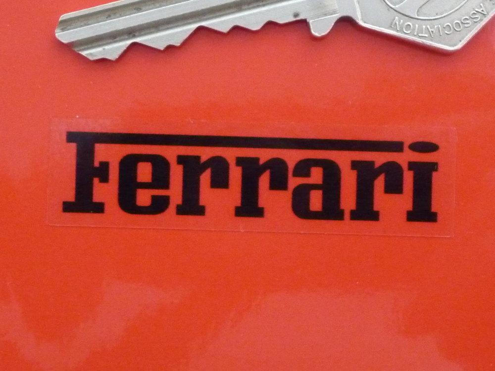 "Ferrari Black on Clear Oblong Stickers. 2"" Pair."
