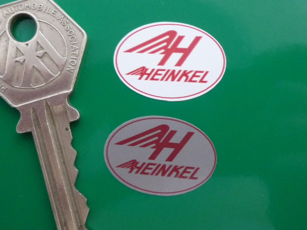 """Heinkel Red & Silver Oval Stickers. 1"""" or 2"""" Pair."""