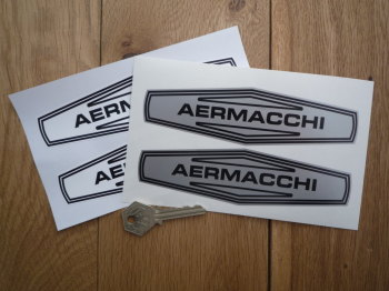 "Aermacchi Black & White or Black & Silver Stickers. 6"" Pair."