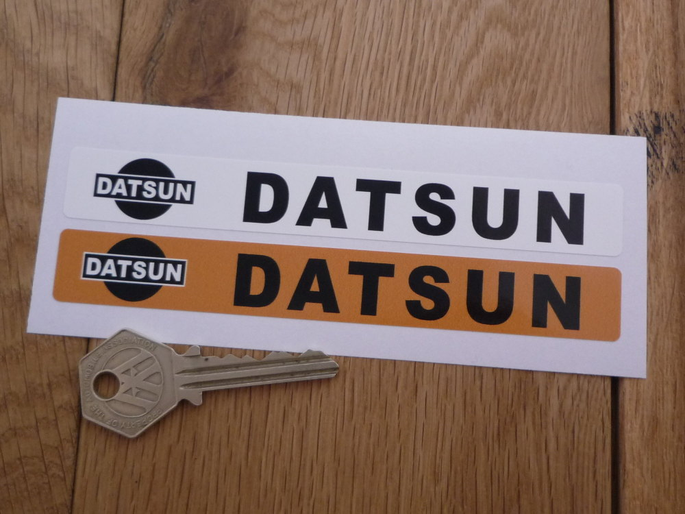"Datsun Number Plate Dealer Logo Cover Stickers. 5.5"" Pair."