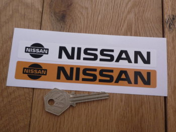 "Nissan Number Plate Dealer Logo Cover Stickers. 5.5"" Pair."