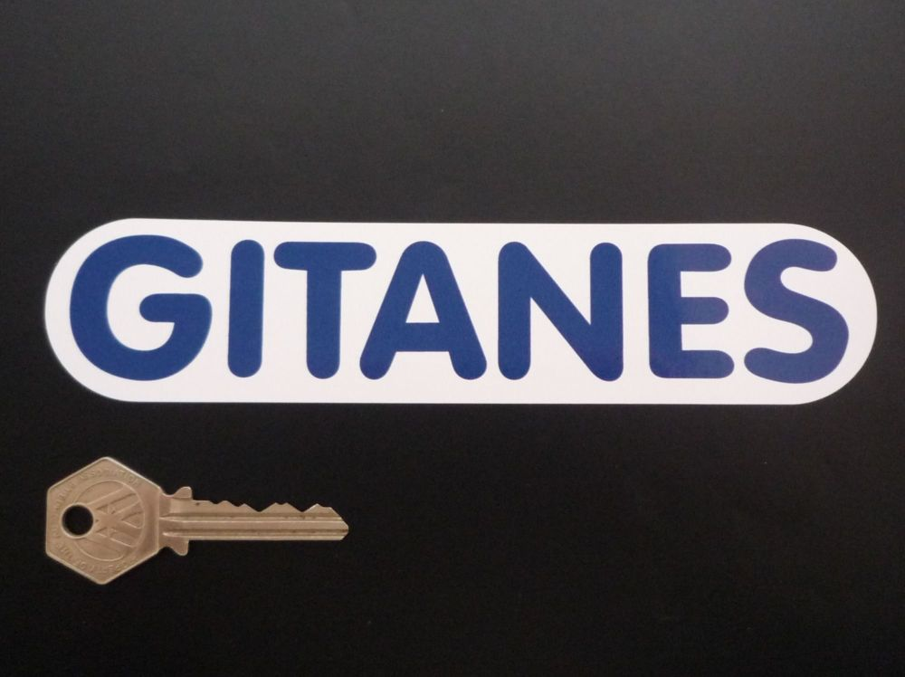 """Gitanes French Cigarette Rounded Oblong Blue & White Text Stickers. 7"""" Pair."""