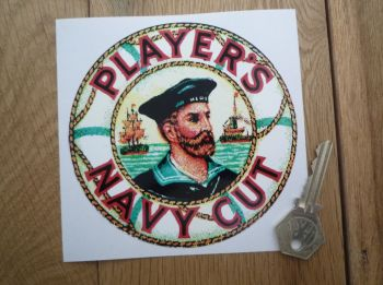 "Lotus Player's Navy Cut Circular Sticker. 4.75""."