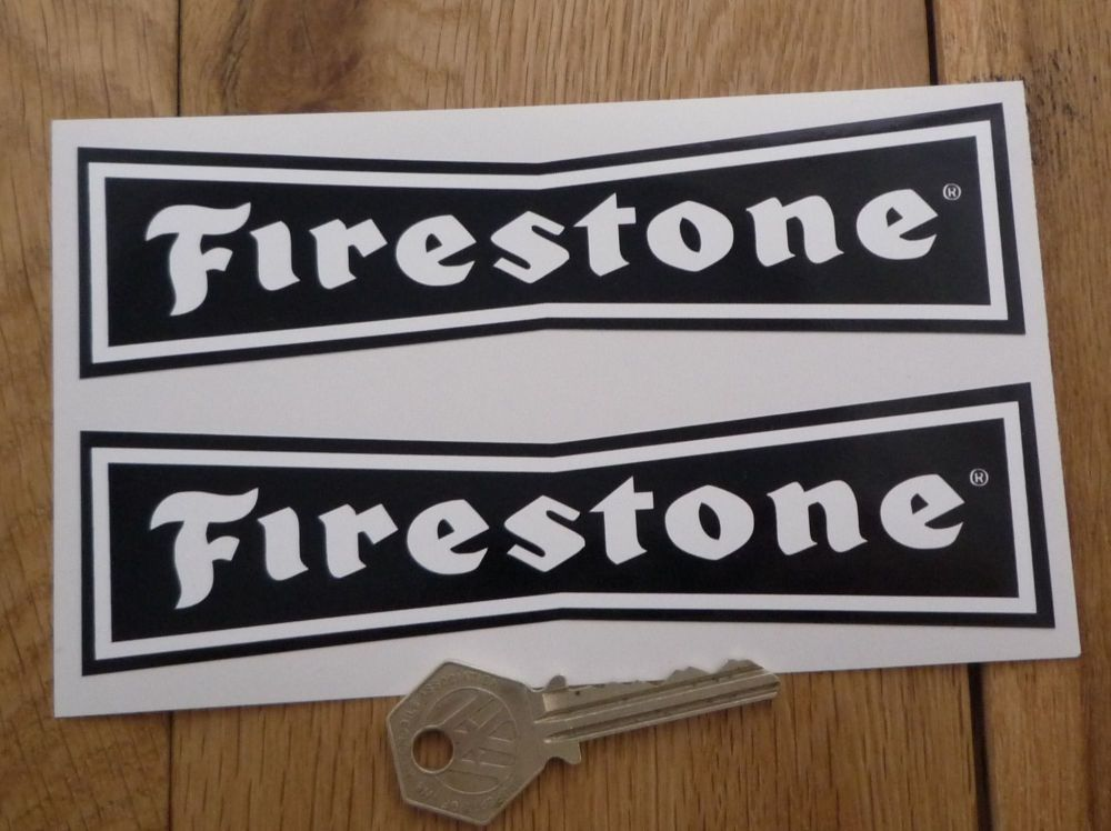 """Firestone 'Dicky Bow' White on Black Stickers. 4"""", 6"""", 8"""" or 10"""" Pair."""