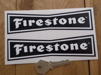 "Firestone 'Dicky Bow' White on Black Stickers. 4"", 6"", 8"" or 10"" Pair."