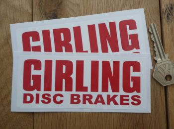"Girling Disc Brakes Red on White Oblong Stickers. 5"" Pair."