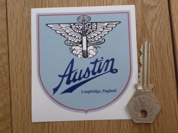 "Austin Longbridge England Pale Blue Shield Sticker. 3""."