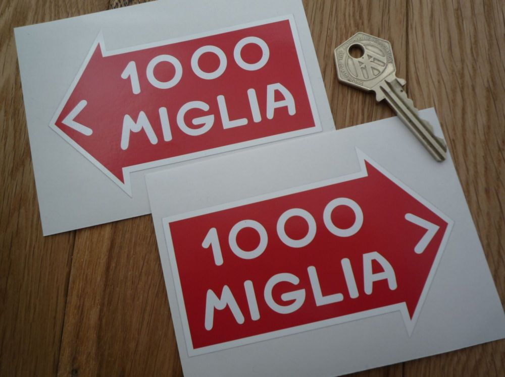 """Mille Miglia Directional Static Cling Stickers. 2.5"""" or 4.5"""" Pair."""