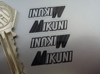 "Mikuni Carburetors Black & Clear Stickers. 1.25"". Set of 4."