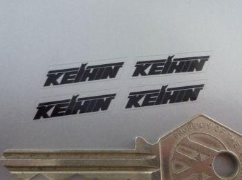 """Keihin Racing Carburetor Black & Clear Stickers. 1"""". Set of 4."""