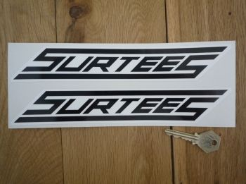 "Surtees Black & White Slanted Oblong Stickers. 10"" Pair."