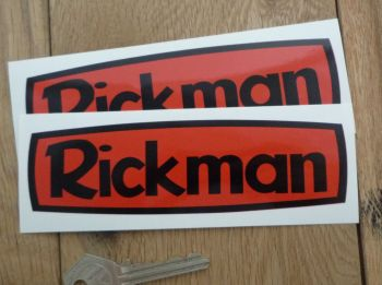 "Rickman Black on Red Stickers. 5.5"" Pair."