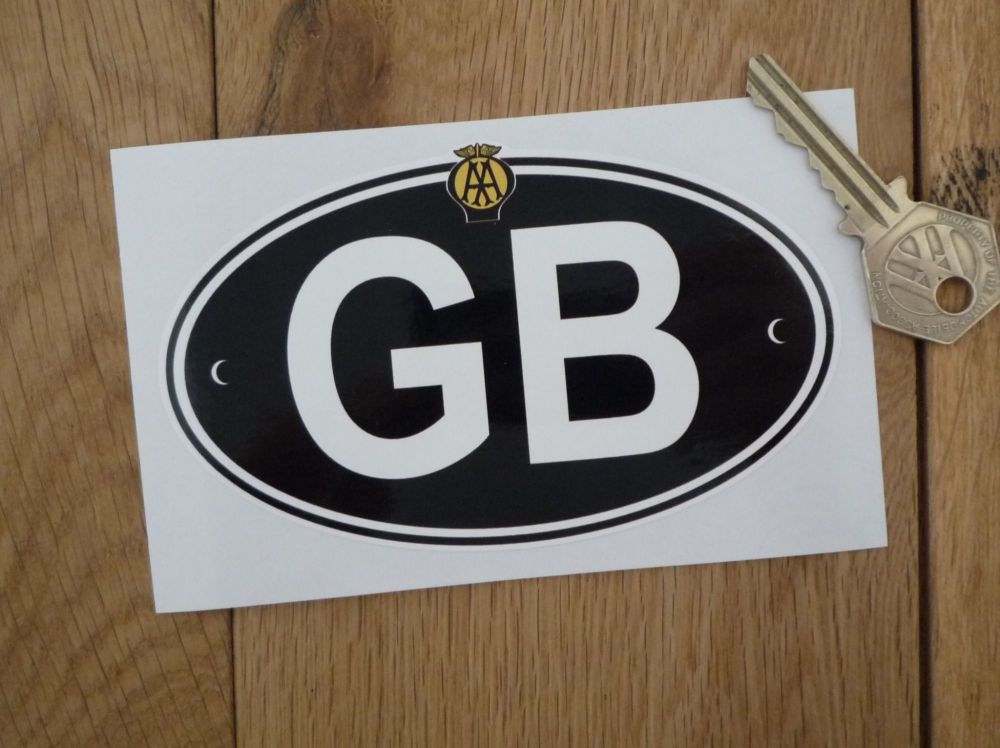 """GB Old AA White on Black ID Plate With Rivets Sticker. 3"""" or 5""""."""